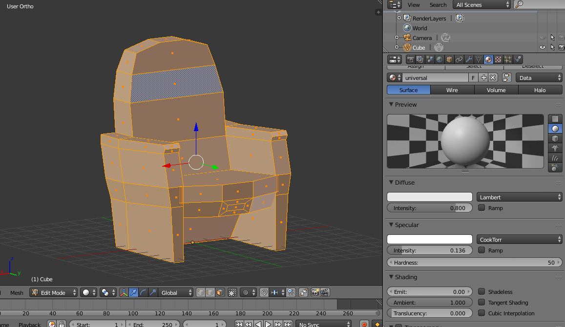 Theater chair in Blender