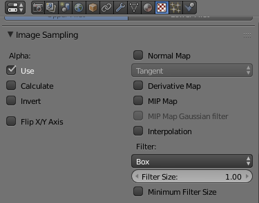 The texture image sampling settings